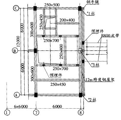 图1 改造后的抽柱平面布置图
